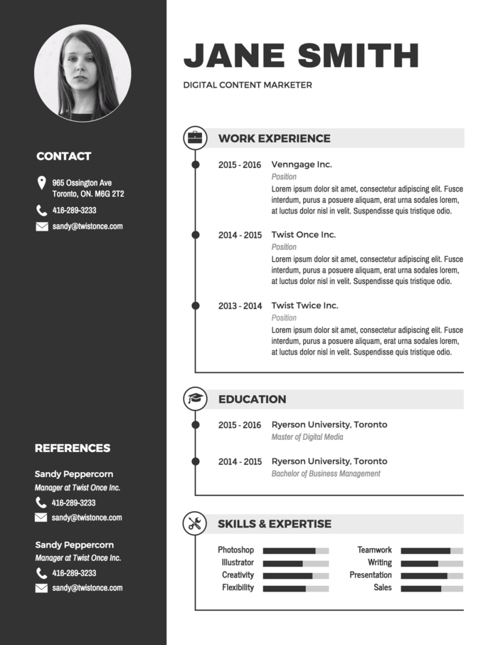 Modern Black And White Resume Infographic Resume Infographic Resume Template Free Resume Template Word