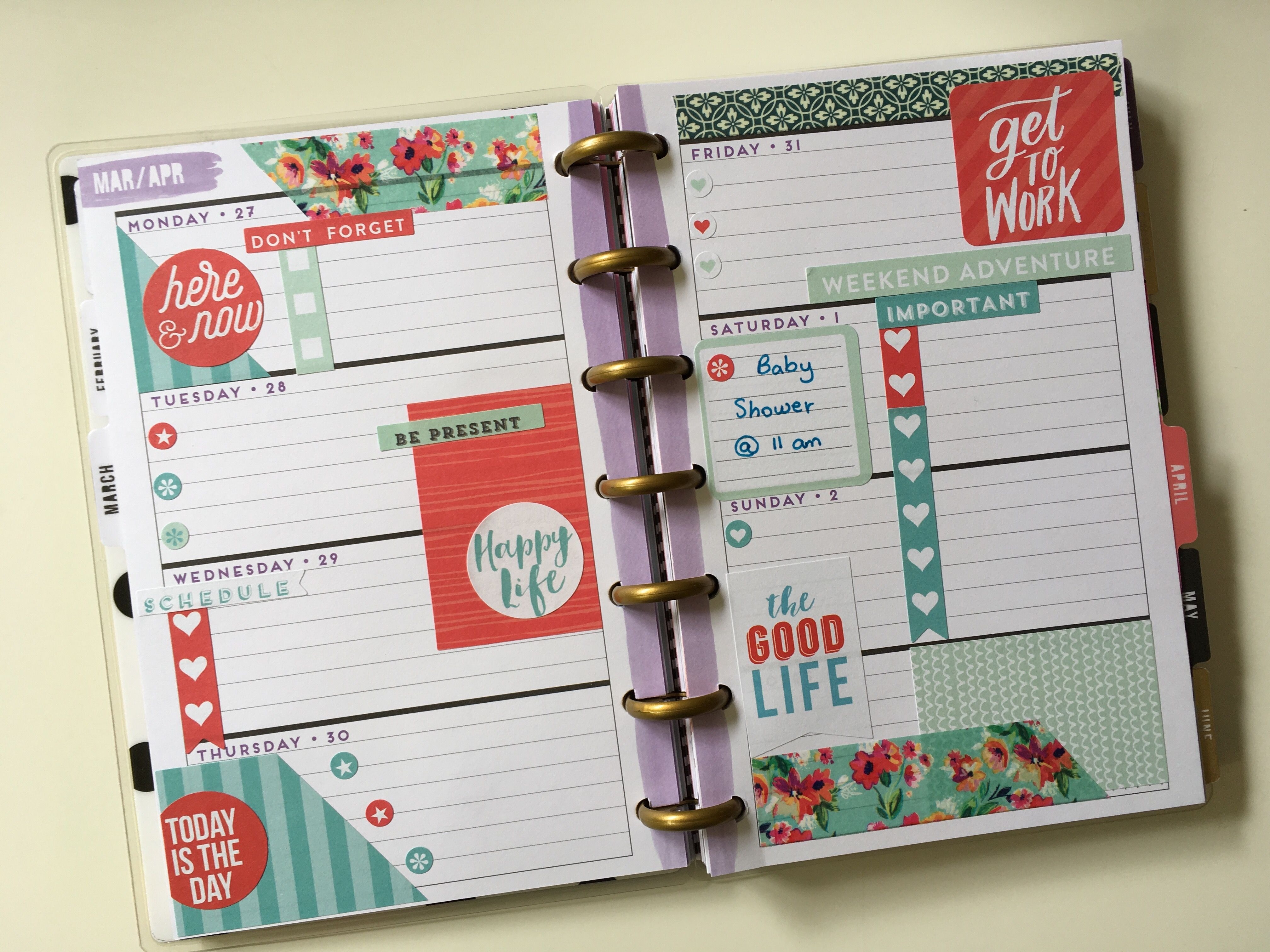 Planner Organization, Mini Happy Planner, Planner Ideas, Spreads, Washi Tape,  Room Decor, Planners, Journaling, Babe