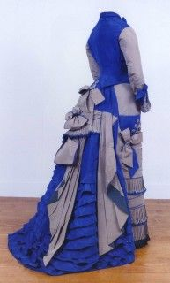 Promenade dress ca 1876. From The Gilded Age. High Fashion and Society in the Hudson Highlands 1865-1914 by Lourdes M. Font and Trudie A Grace.