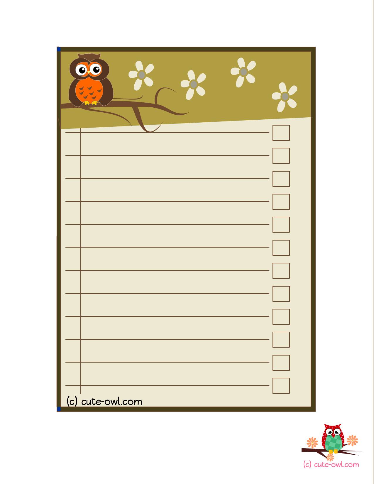 Free Printable Cute Owl Baby Shower To Do List Printables