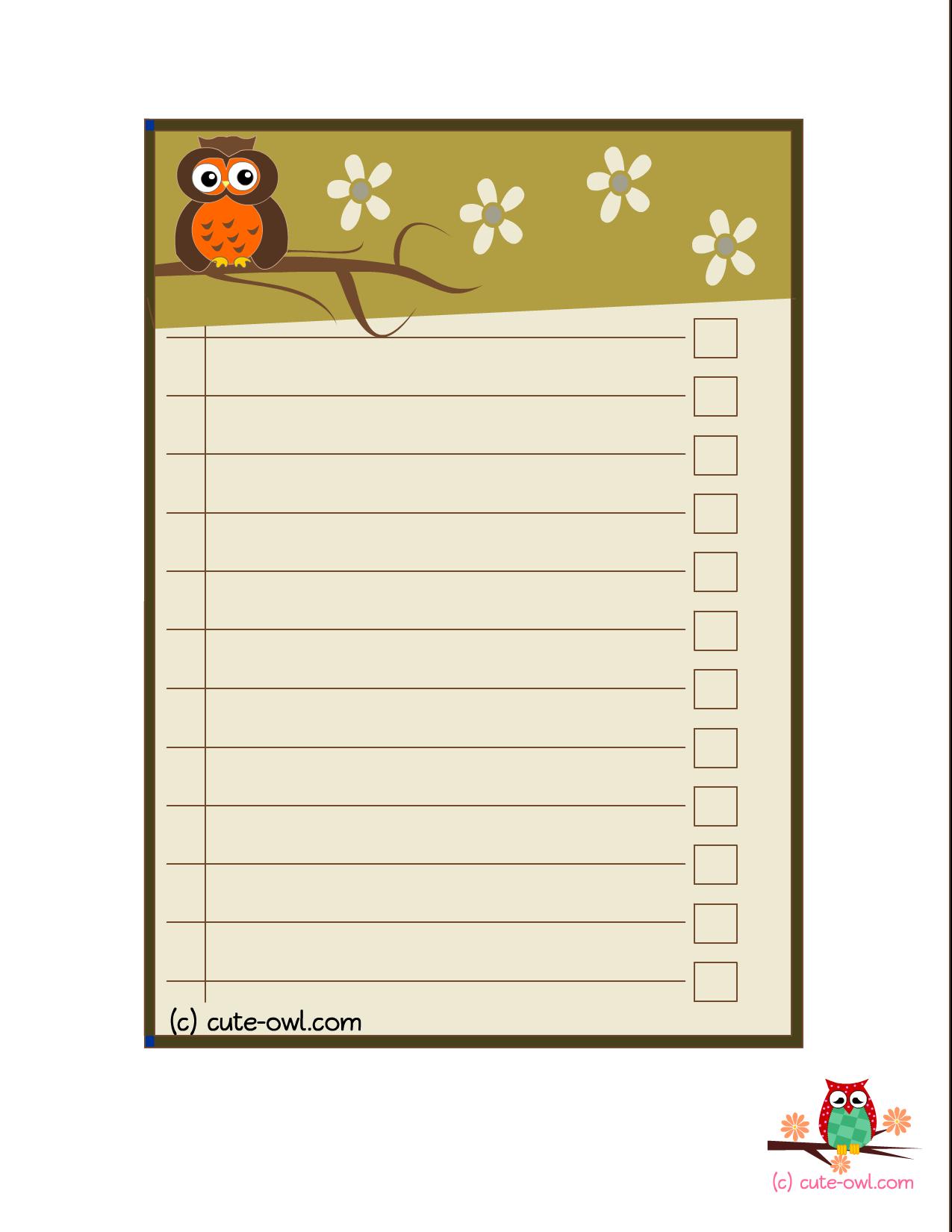 Free Printable Cute Owl Baby Shower To Do List  Woodland Animal