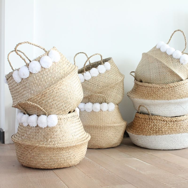 Grand Panier Boule Naturel A Pompons Blancs Panier Boule Deco Decoration