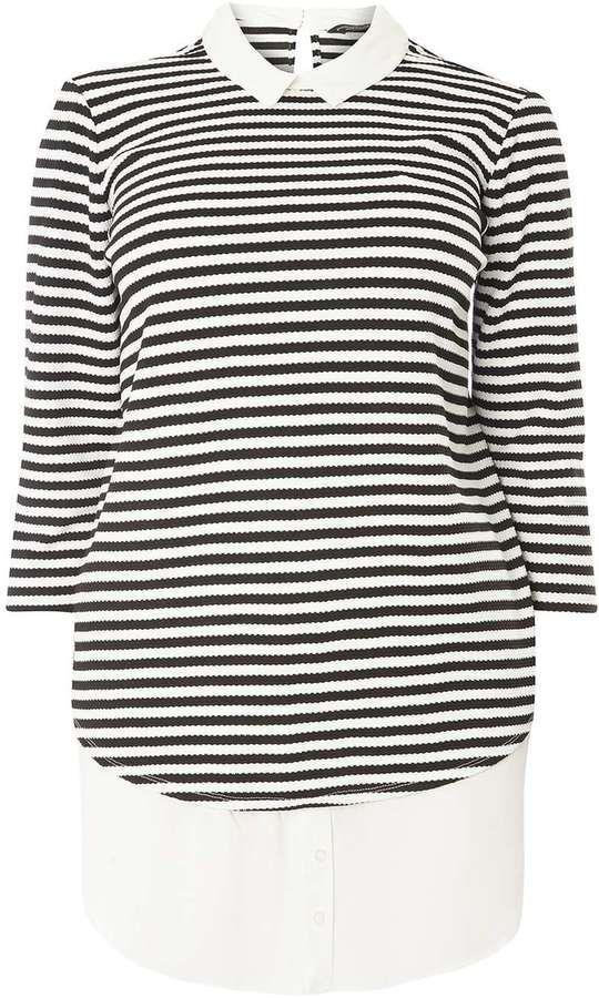 **DP Curve Monochrome Stripe 2 in 1 Shirt