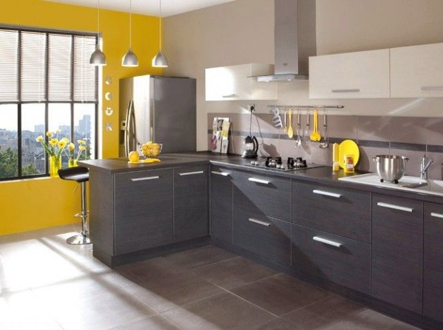 Cuisine jaune gris cuisine kitchen pinterest for Cuisine mur jaune