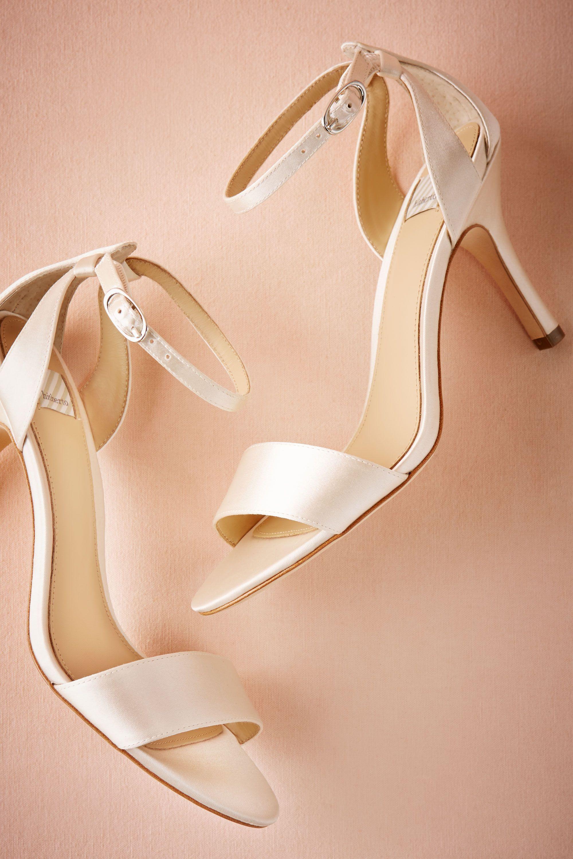 white stain wedding heels