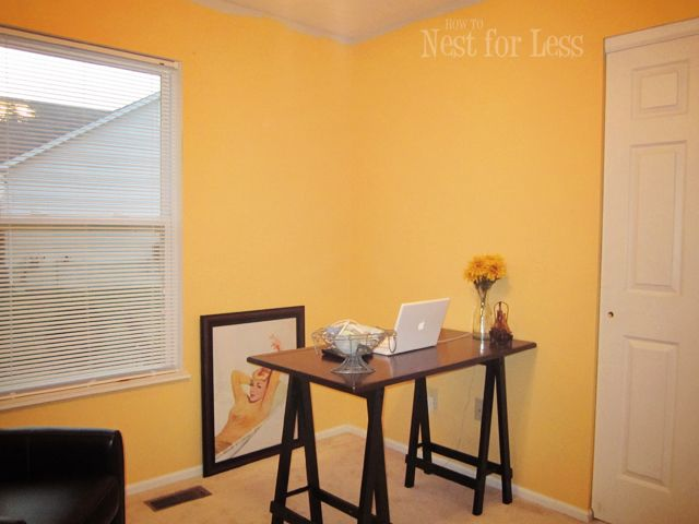 Yellow Stenciled Wall for My New Home Office/Craft Room | Large ...