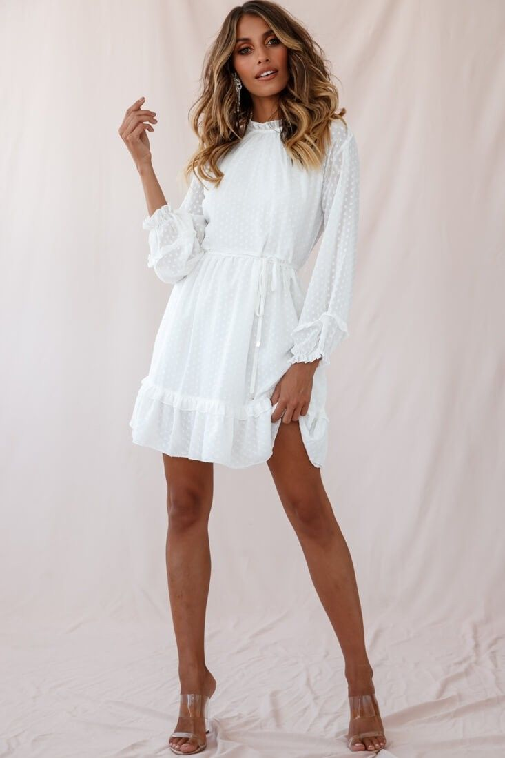 Tracee Open Back Ruffled Hemline Dress White Tall #confirmationdresses