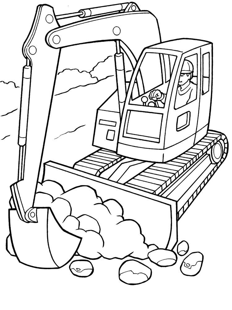 Excavator Coloring Page Tractor Coloring Pages Truck Coloring Pages Printable Coloring Pages