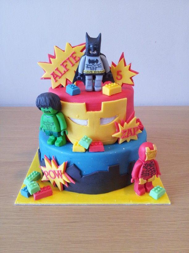 Lego Marvel Cake Torta Lucas Pinterest Marvel Cake Cake And