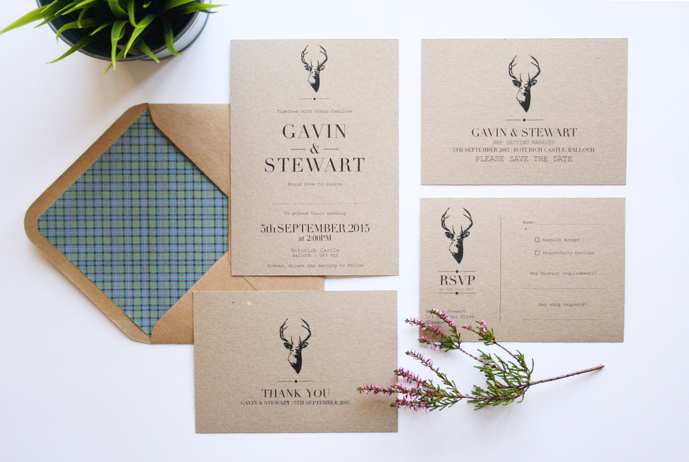Stag Themed Wedding Stationery Inspired By The Rustic