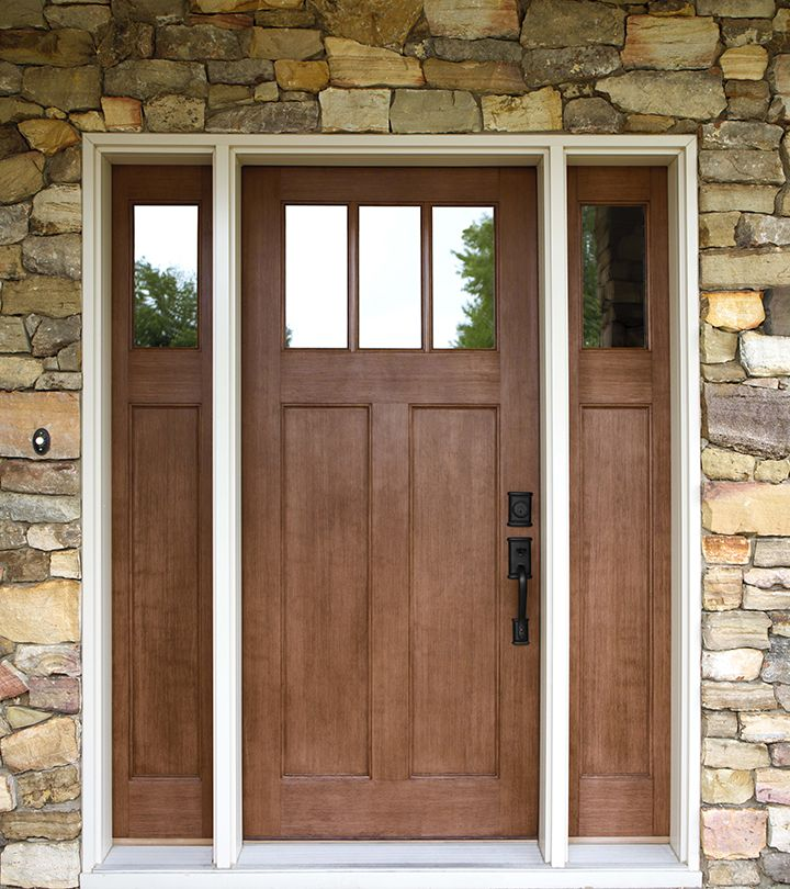 Exterior doors craftsman style fir textured fiberglass for Front door and sidelights