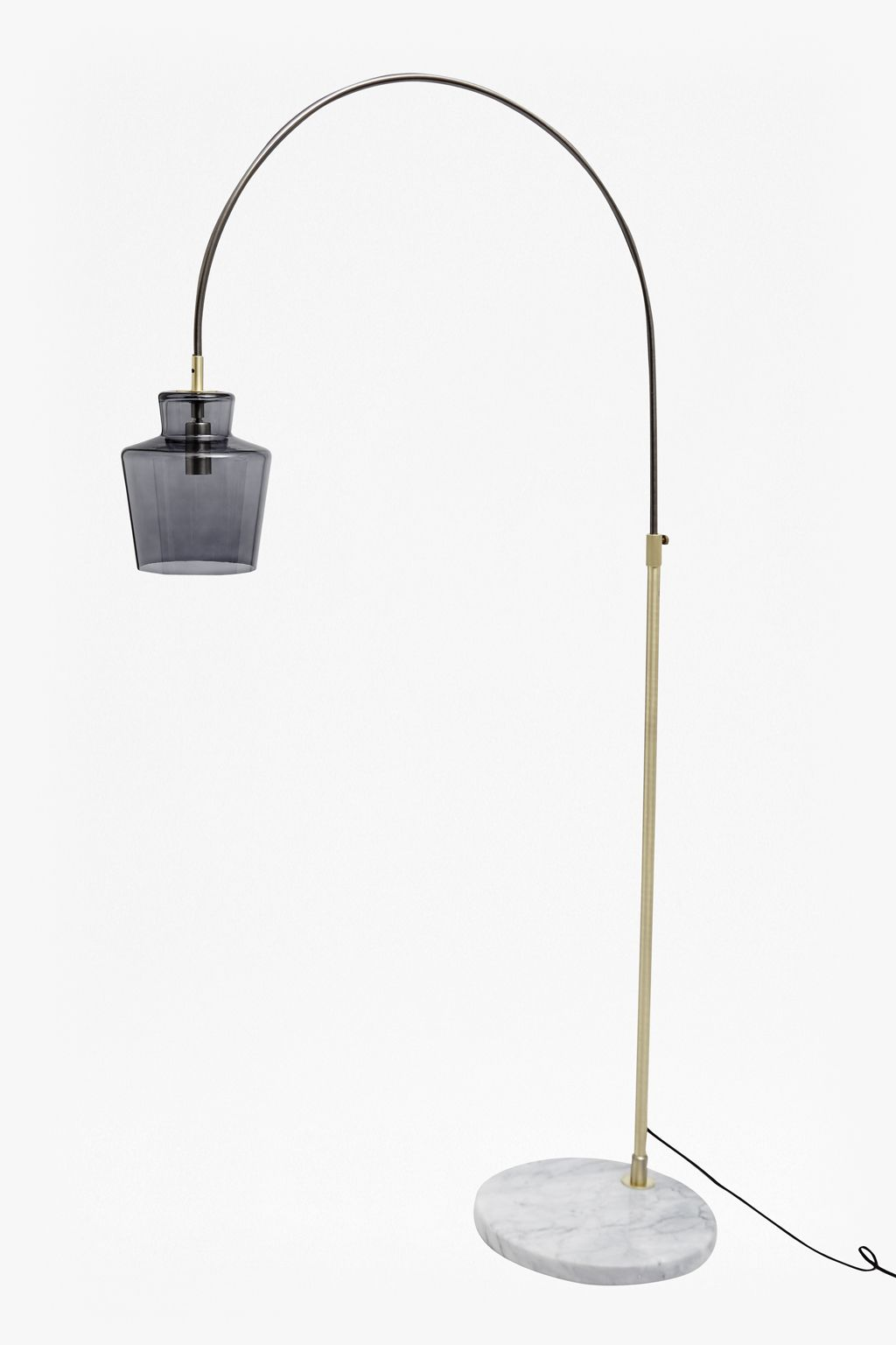 Metal Floor Light With Blue Hand Blown Glass Lampshade