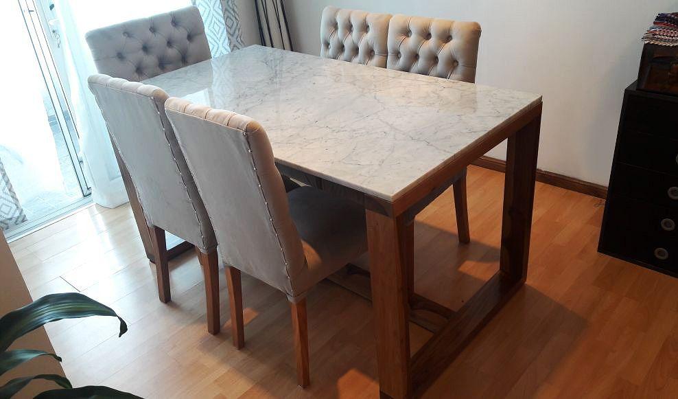 Carrara marble and wood dinning table / Mesa comedor madera ...