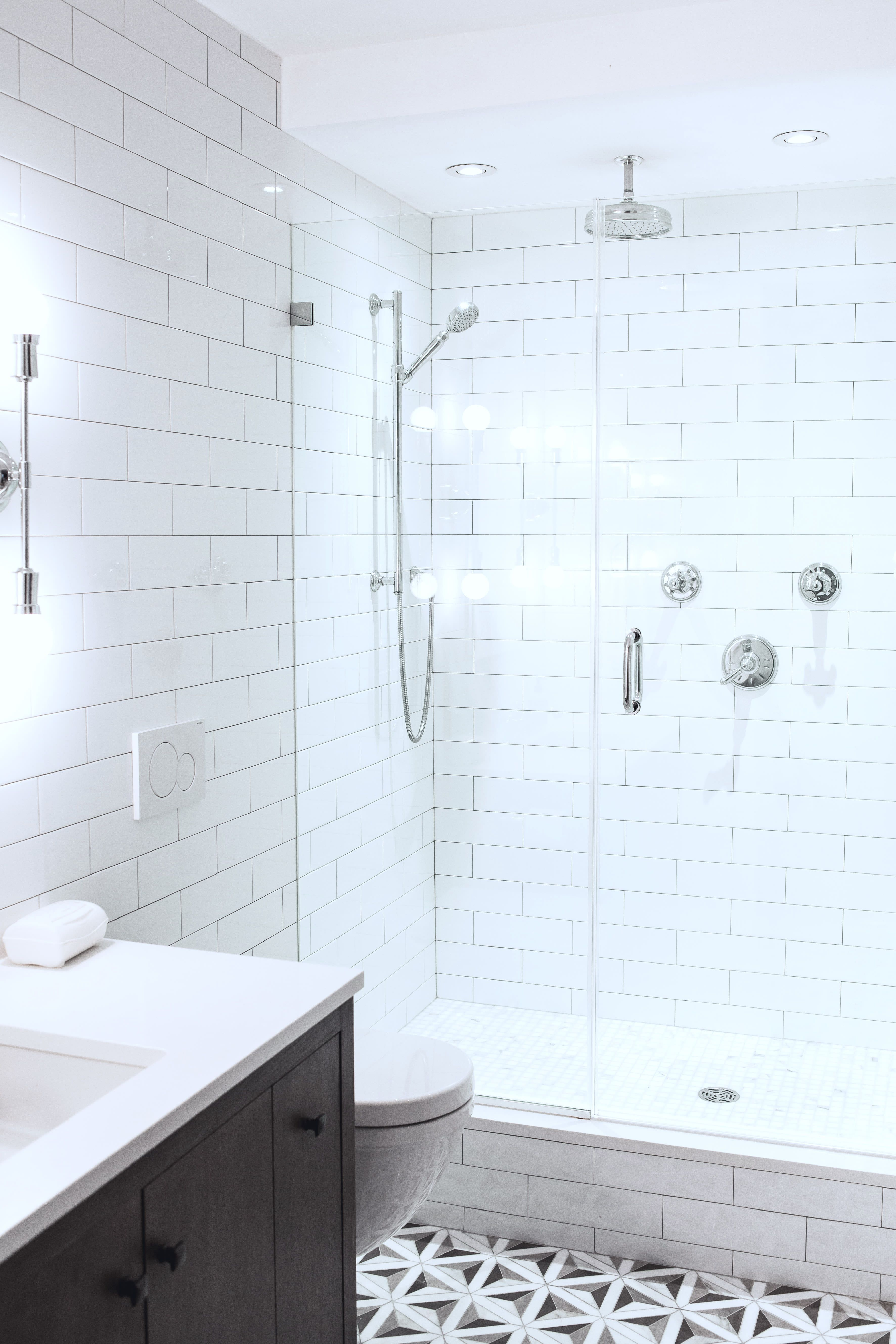 An Nyc Reno Has Charming Architecture And Custom Built Ins Shower Remodel Tub To Shower Remodel Bathroom Floor Tiles
