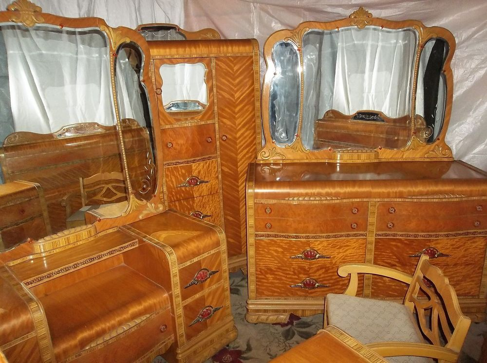 Details About Art Deco Vintage Bedroom 6 Piece Set Make