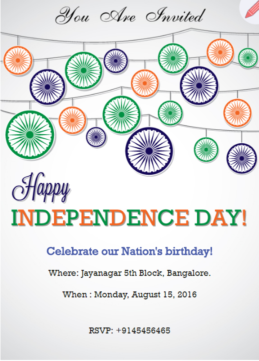 Tri color ashoka chakra theme invitation | music theme | Pinterest