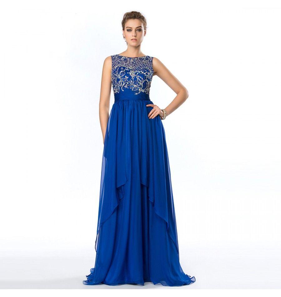Strass Perlen A-Linie Abendkleid Royal Blau | Abendkleider 2017 ...