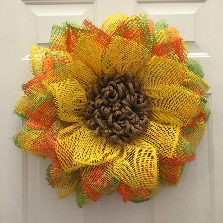 Photo of Items similar to Sunflower Wreath, Front Door Wreaths, Orange Sunflower Wreath, Summer Wreath, Handmade Wreath, Handmade Gift, Mother's Day Gift on Etsy