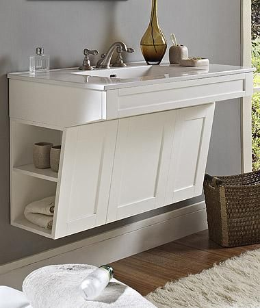 The idea of end cubbies in the vanity is a linen storage solution