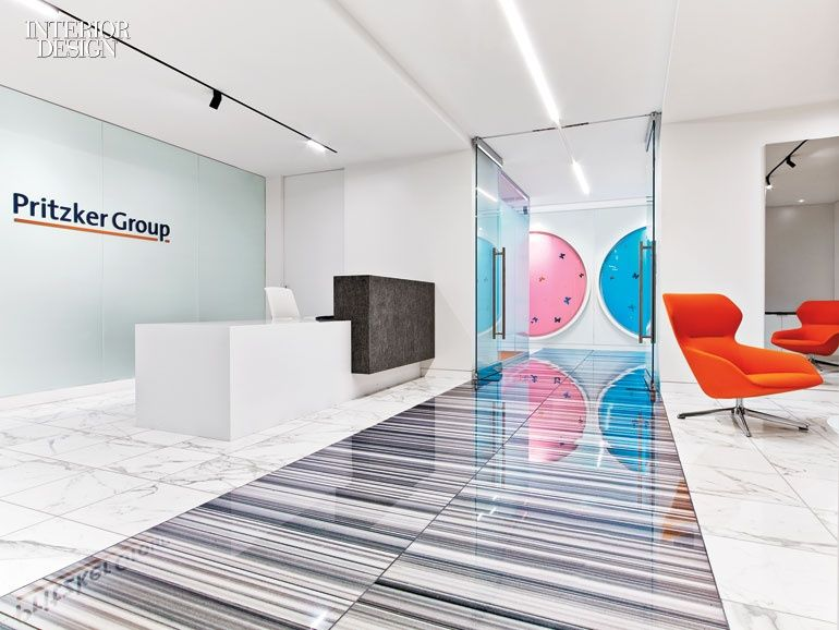 Bright Colors And Contemporary Artwork Punctuate Pritzker Groups Los Angeles Headquarters By HOK Office Interior DesignInterior Design MagazineOffice