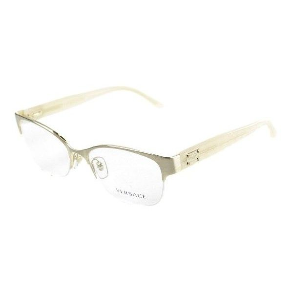 115bcfd1b153 Versace VE 1222 1196 Brushed Gold Metal Semi Rimless Couture Eyeglasses  found on Polyvore featuring polyvore