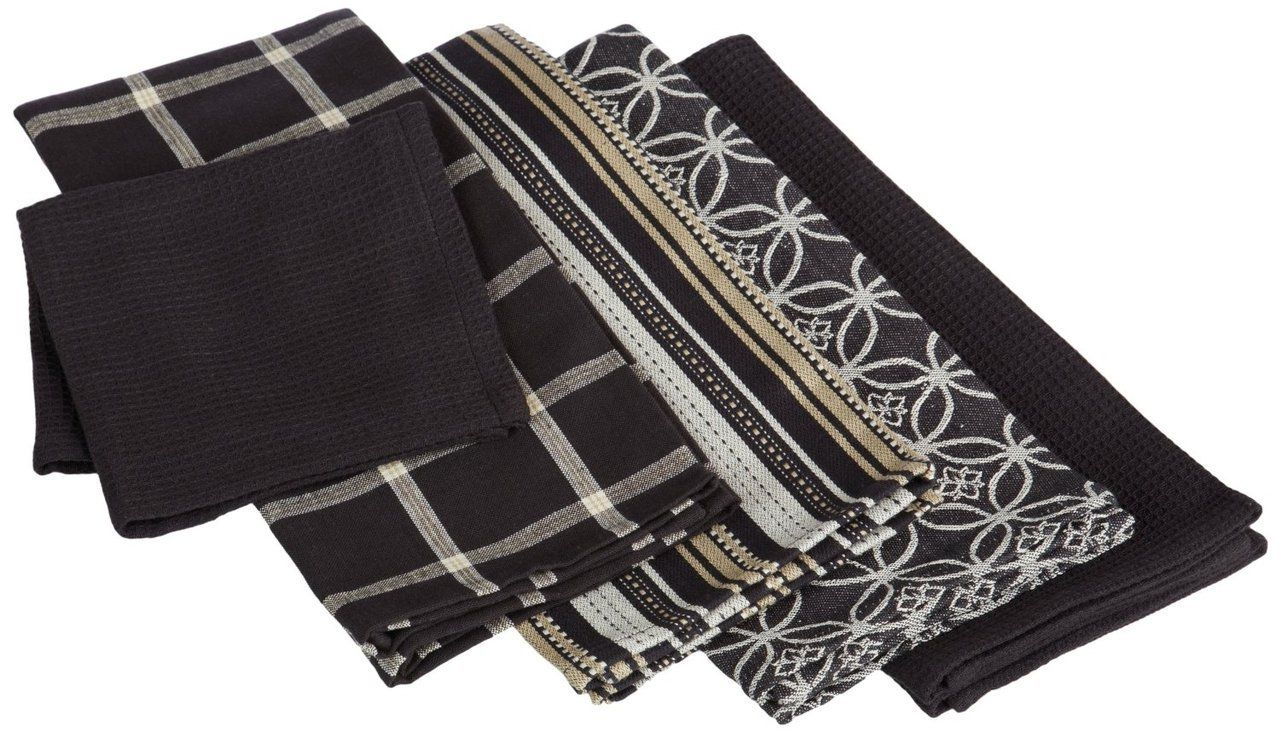 DII Kitchen Towel Set of 4 (3 Dishtowels & 1 Dishcloth) Black $19.95 TOTAL PRICE...LOWEST PRICE GUARANTEE...PICK UP OR WE WILL SHIP FREE WORLDWIDE...100% MONEY BACK SATISFACTION GUARANTEED...WEBSITE: www.shopculinart.com