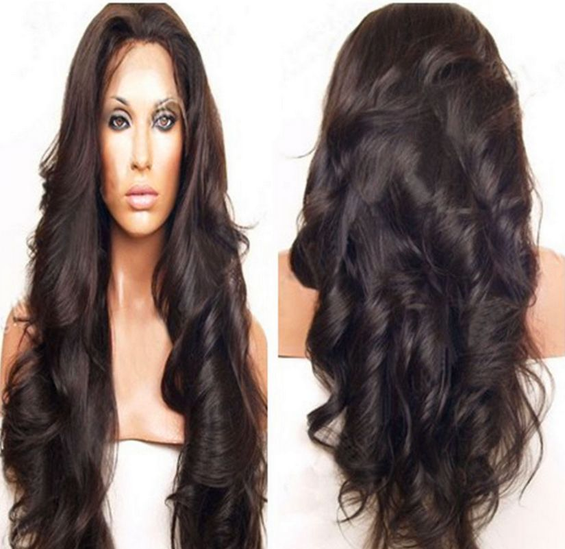 Free Dhl Glueless Lace Front Wig Wavy Indian Hair Full Wig Black 1b