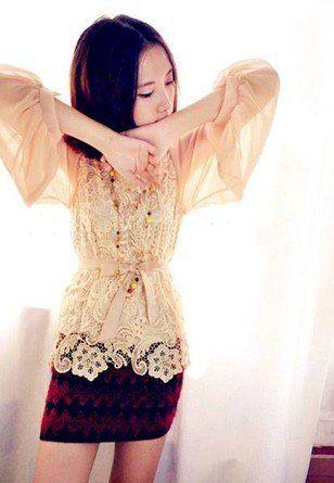Lace Embellished Collect Waist Chiffon Blouse