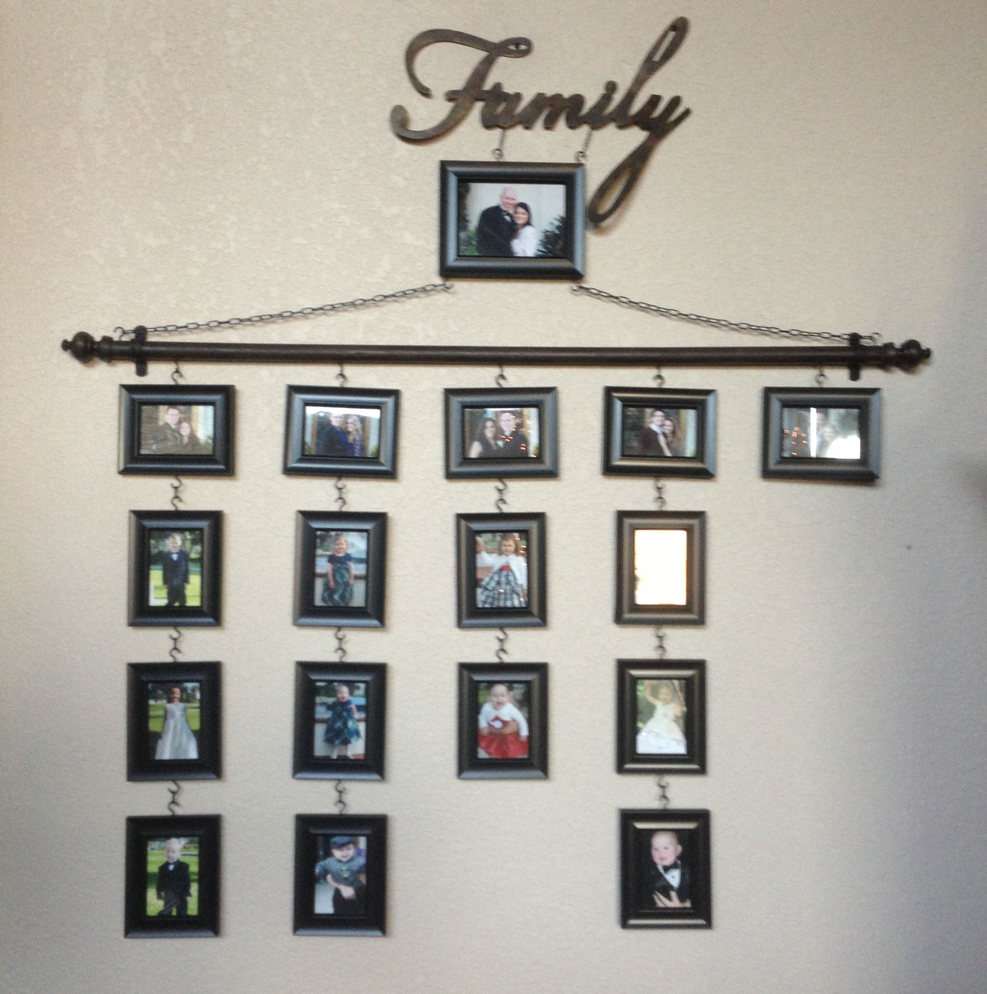 Diy family tree frames hooks drill chain roddowel