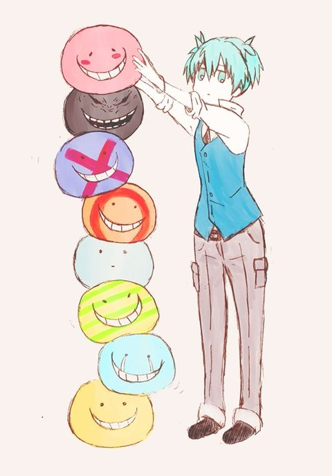 aww, Nagisa stacking up all of the Koro-sensei heads *aww