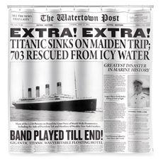 Kikkerland Design Titanic News Fabric Shower Curtain Bahaha To