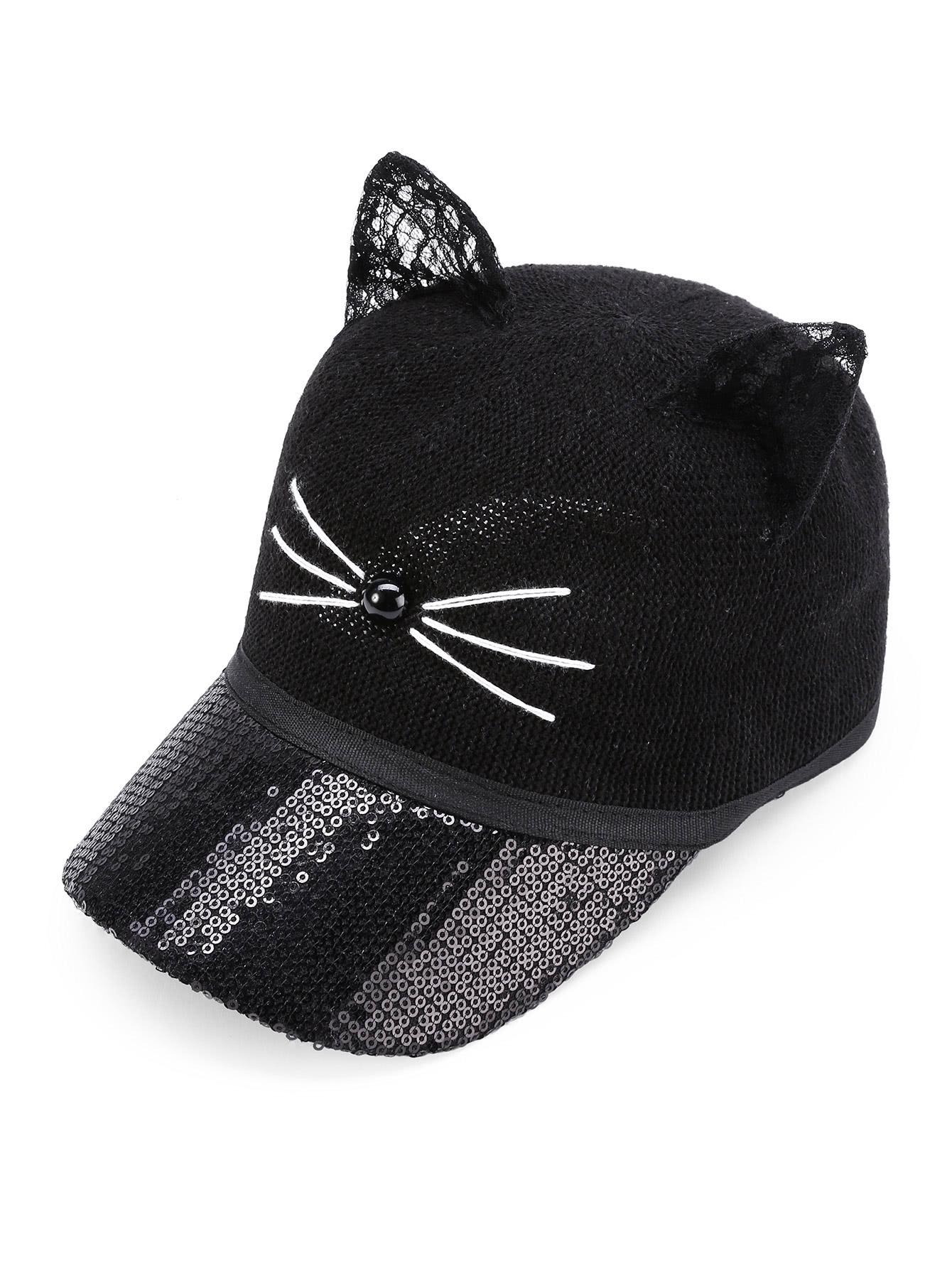 Gorro con estilo de béisbol con oreja de gato con lentejuelas -Spanish  SheIn(Sheinside) 5b849f56e59