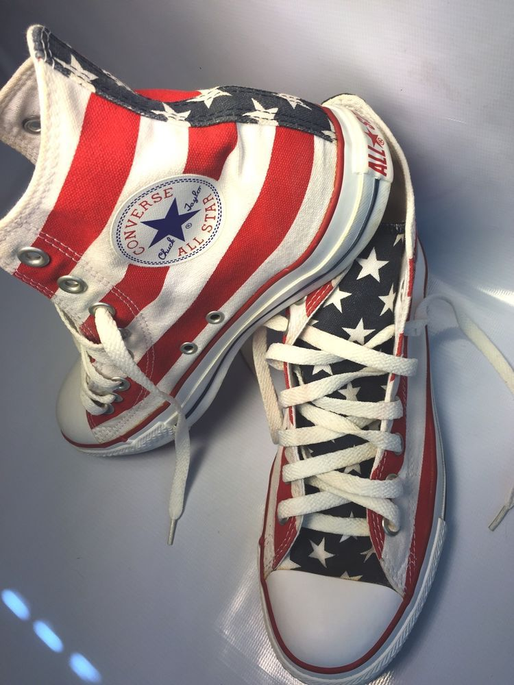 4f159504f012 Converse Chuck Taylor All Star Flag Stars Stripes Red White Blue Men 7  Women 9