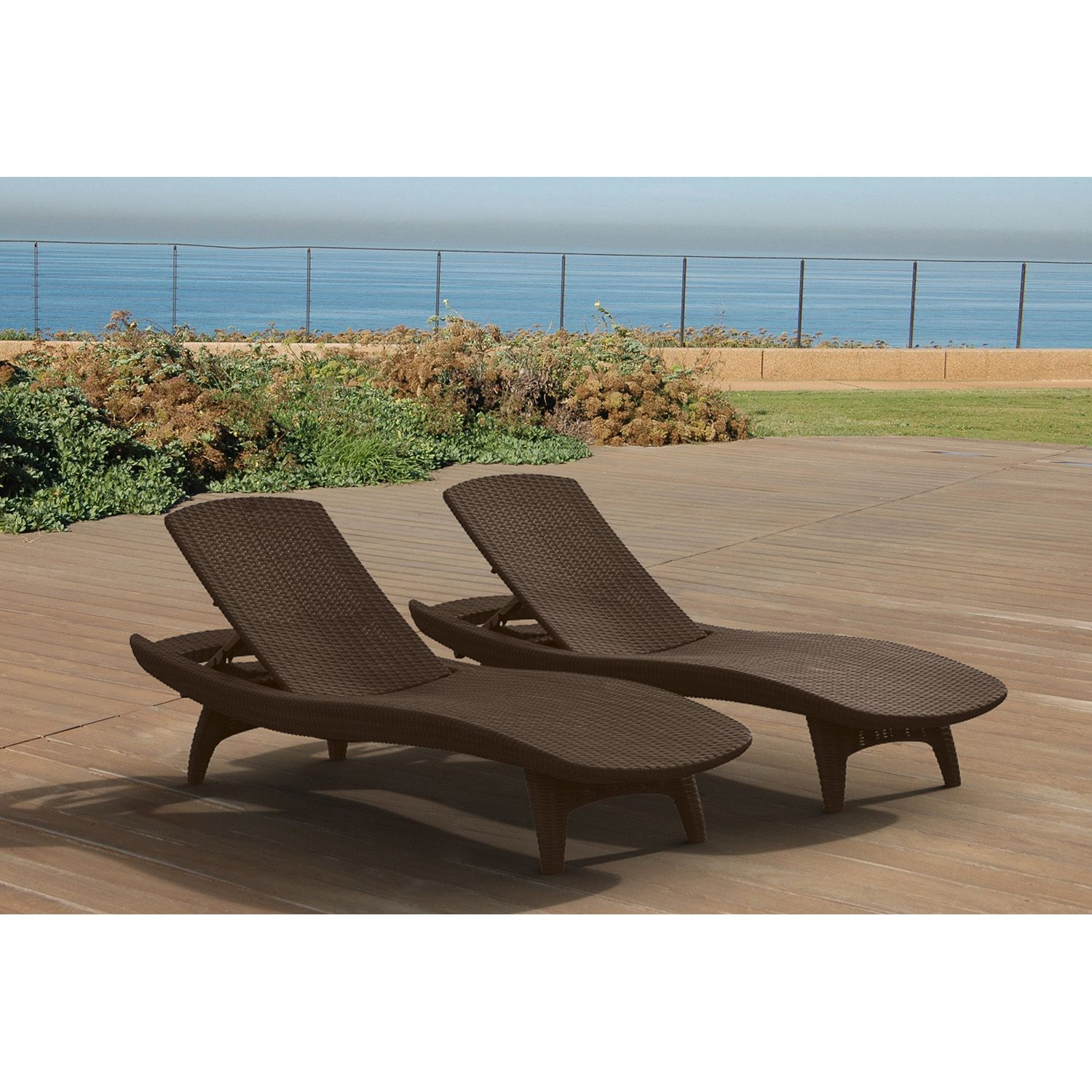 Keter 2 Pack All weather Rattan Chaise Lounger Various Colors