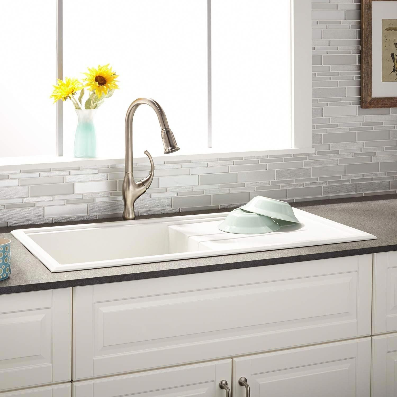 40 Manton Drop In Granite Composite Sink With Drain Board White