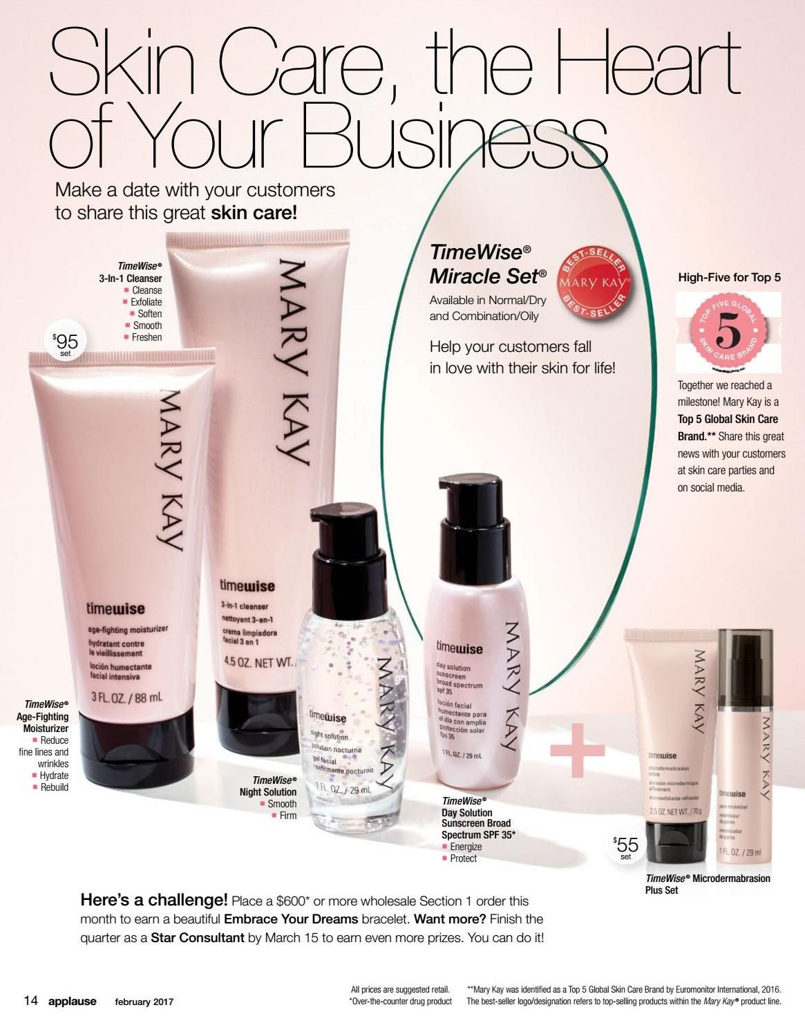 Applause February 2017 Top Skin Care Products Timewise Miracle Set Mary Kay
