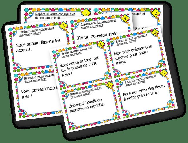 Cartes A Taches Trouver L Infinitif Du Verbe L Ecole D Ailleurs Verbe Jeu Conjugaison Activites De Rentree Ce2