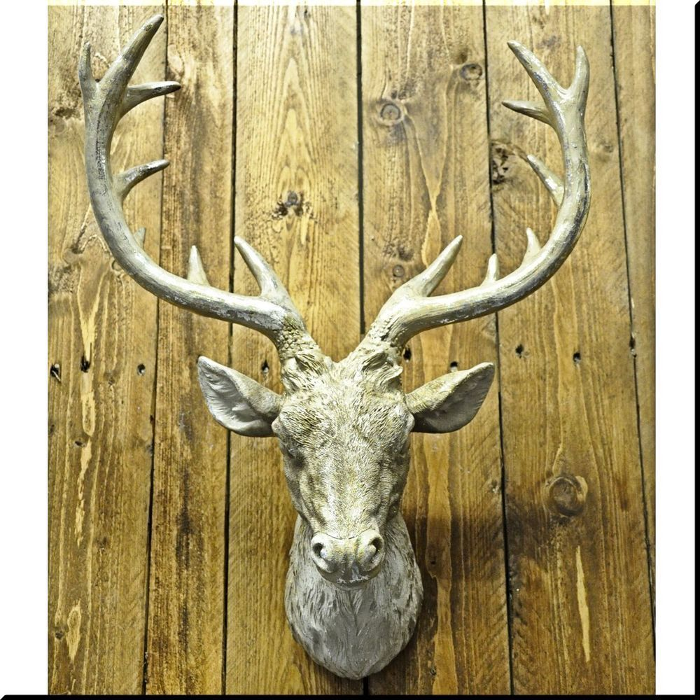 Large Stags Head Gold Bronze Cold Silver Cast Wall Deer Antlers ...