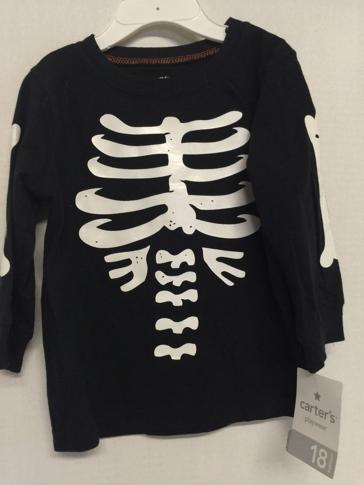 1e7735adb Boys Halloween Shirt Skeleton Size 18 Months Carters Black Infant Toddler |  eBay