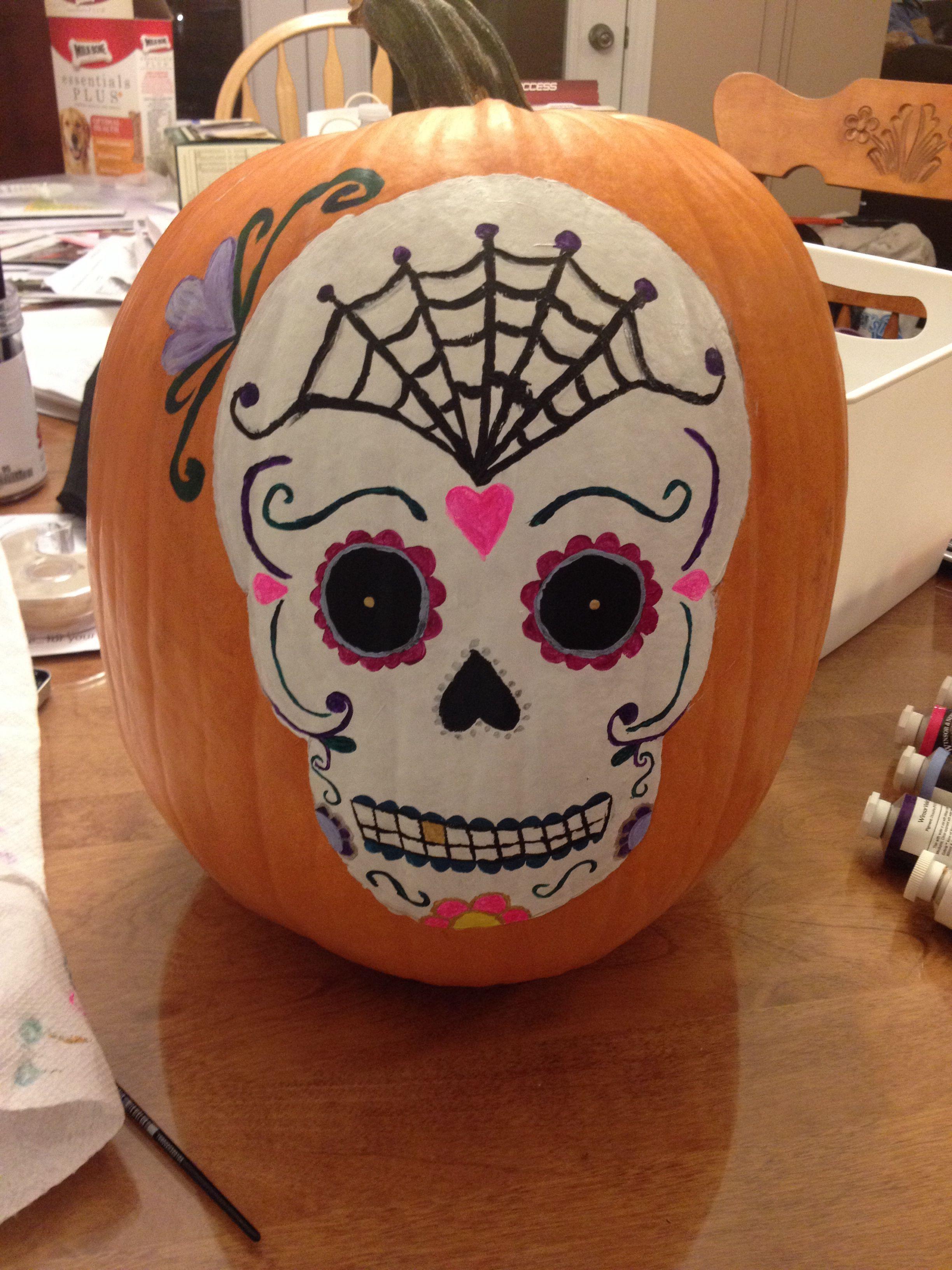 Sugar skull painted pumpkin for Halloween | Halloween ...