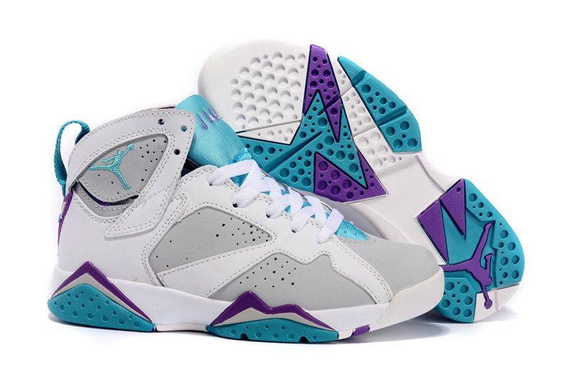low priced 6e9ae 991c9 Big Boys Shoe Air Jordan 7 VII Youth Neutral Grey Mineral Blue Bright  Violet White 442960