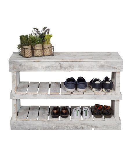 DelHutson Designs White Barnwood Shoe Rack & Bench | zulily | Shoe ...
