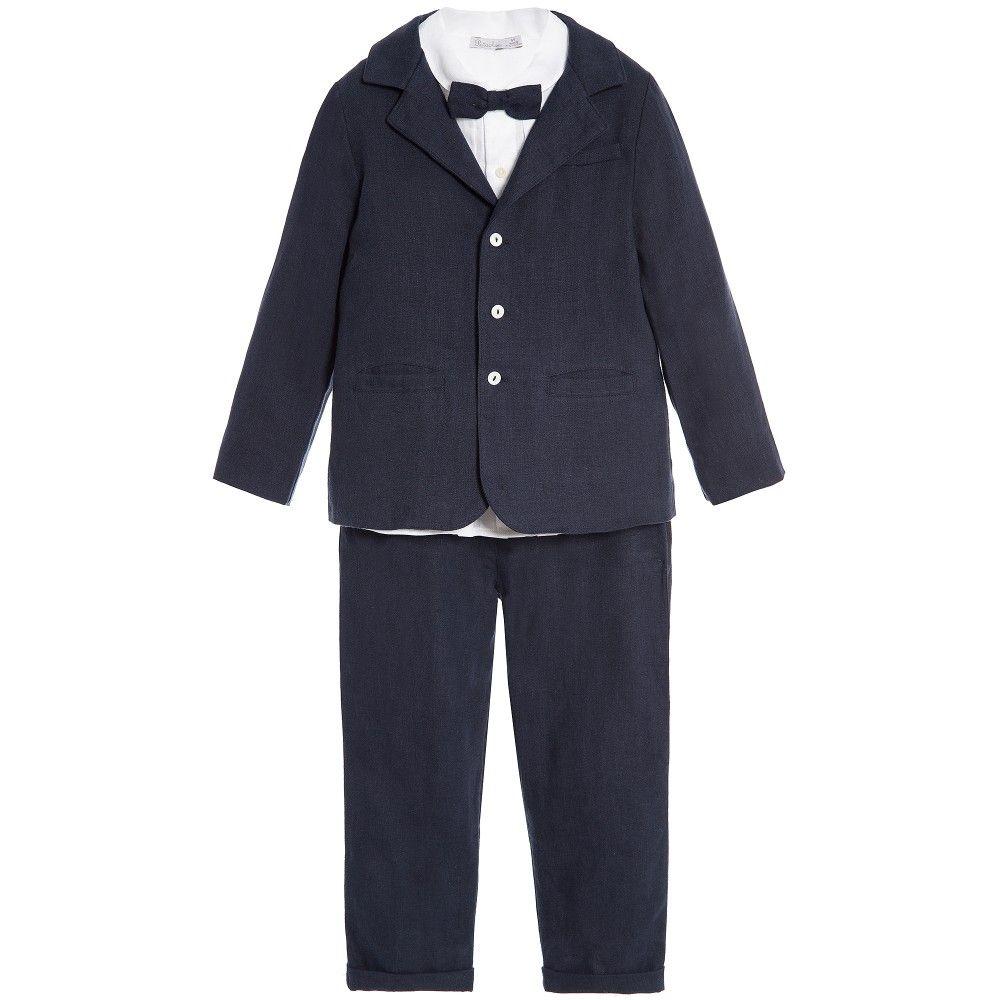 a18f43743b54 Boys Navy Blue 5 Piece Linen Trouser Suit, Patachou, Boy ...