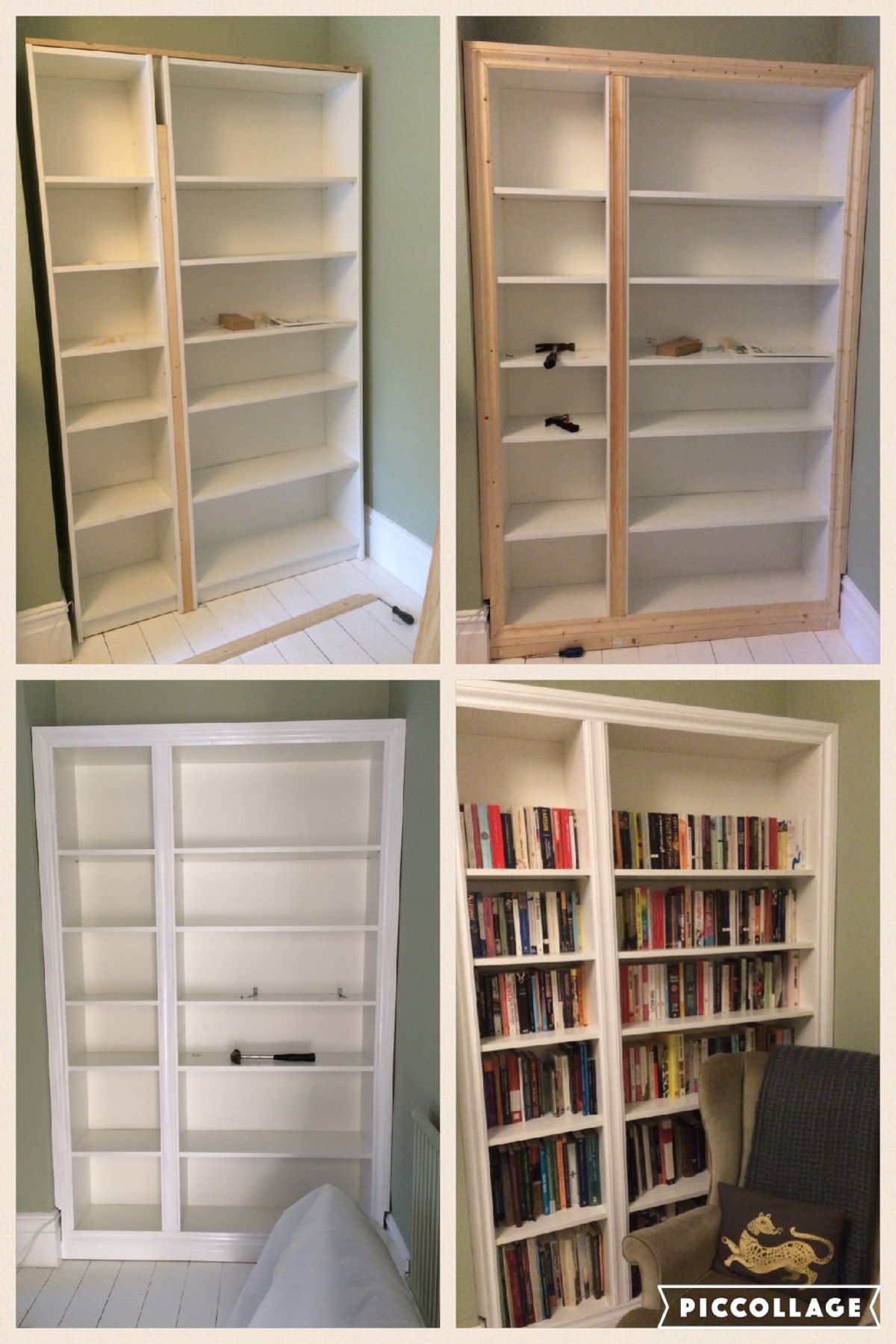 IKEA Hack Billy Bookcase Modified To Look Like Built In Alcove Shelving