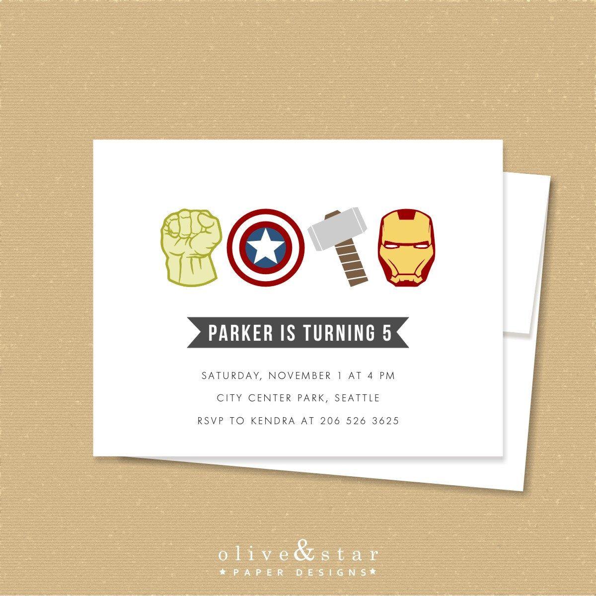Avengers inspired invitation, birthday, baby shower, hulk, thor ...
