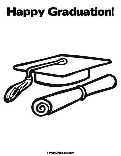 Cap And Diploma Coloring Page Happy Graduation Coloring Pages