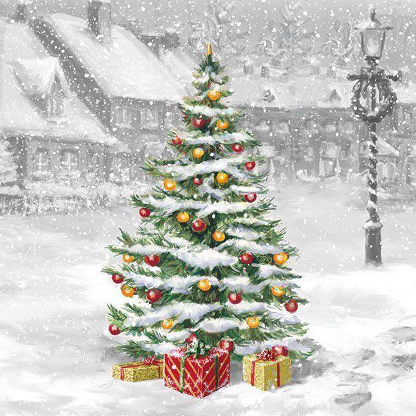 Serviette 'Verschneite Weihnacht' #vintageweihnachten