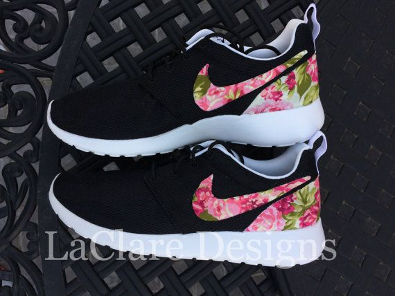 Floral Nike Roshe Run Black by LaClareDesigns by Bridgette