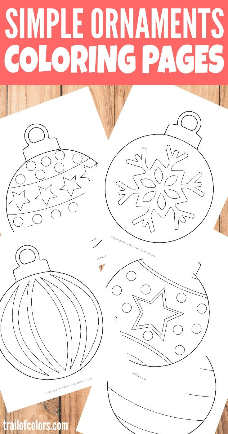 Simple Christmas Ornaments Coloring Page for Kids | Navidad ...