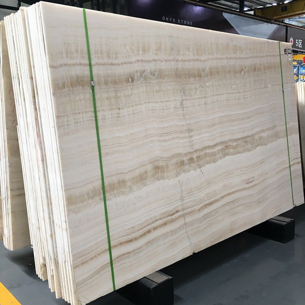 Indoor Polished Natural White Wood Vein Onyx Stone China Supplier